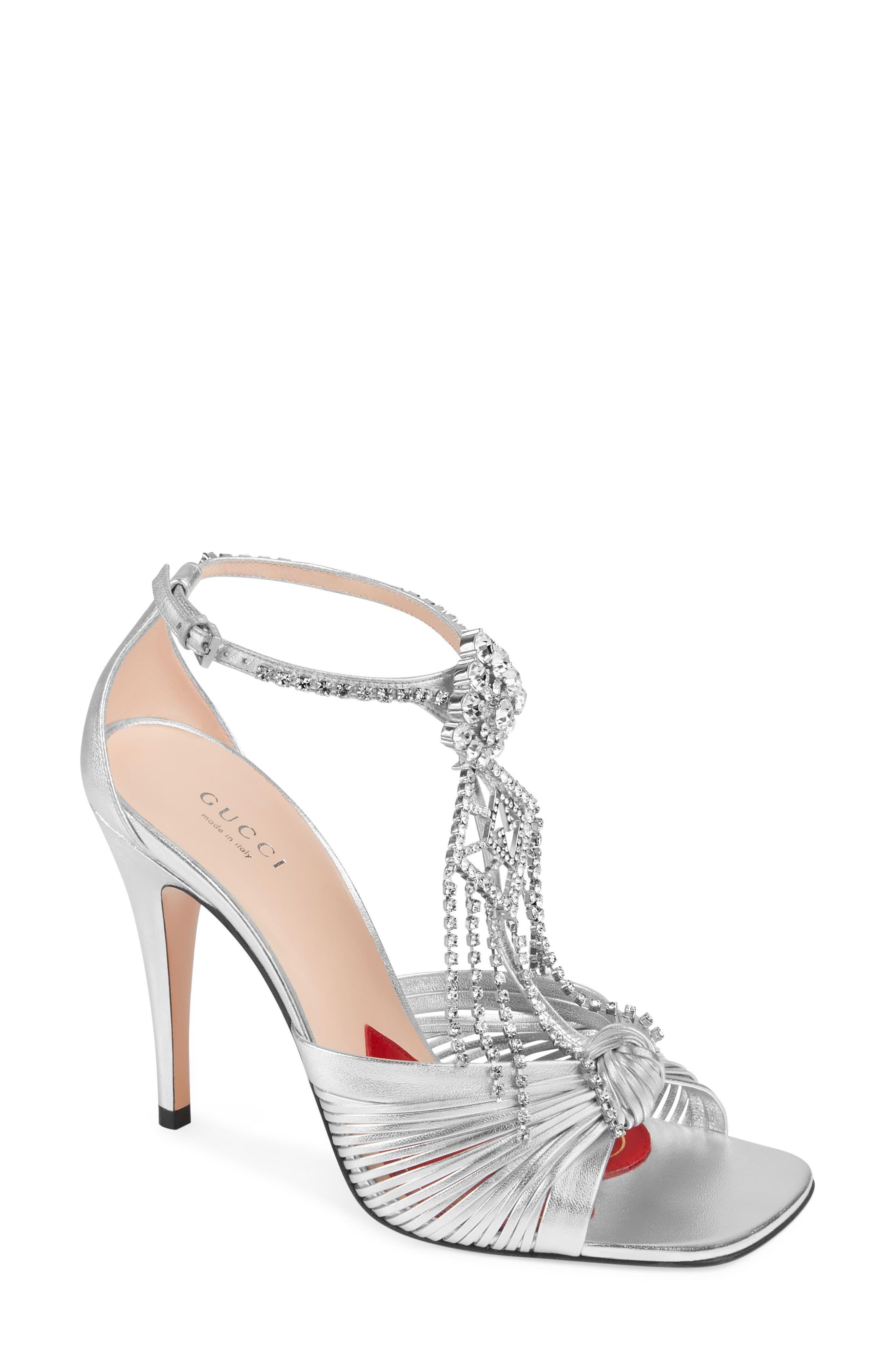 2b9334b8e341 Gucci Crawford Embellished Knot Sandal, Metallic