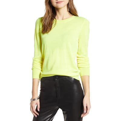 Halogen Crewneck Merino Wool Blend Sweater, Yellow