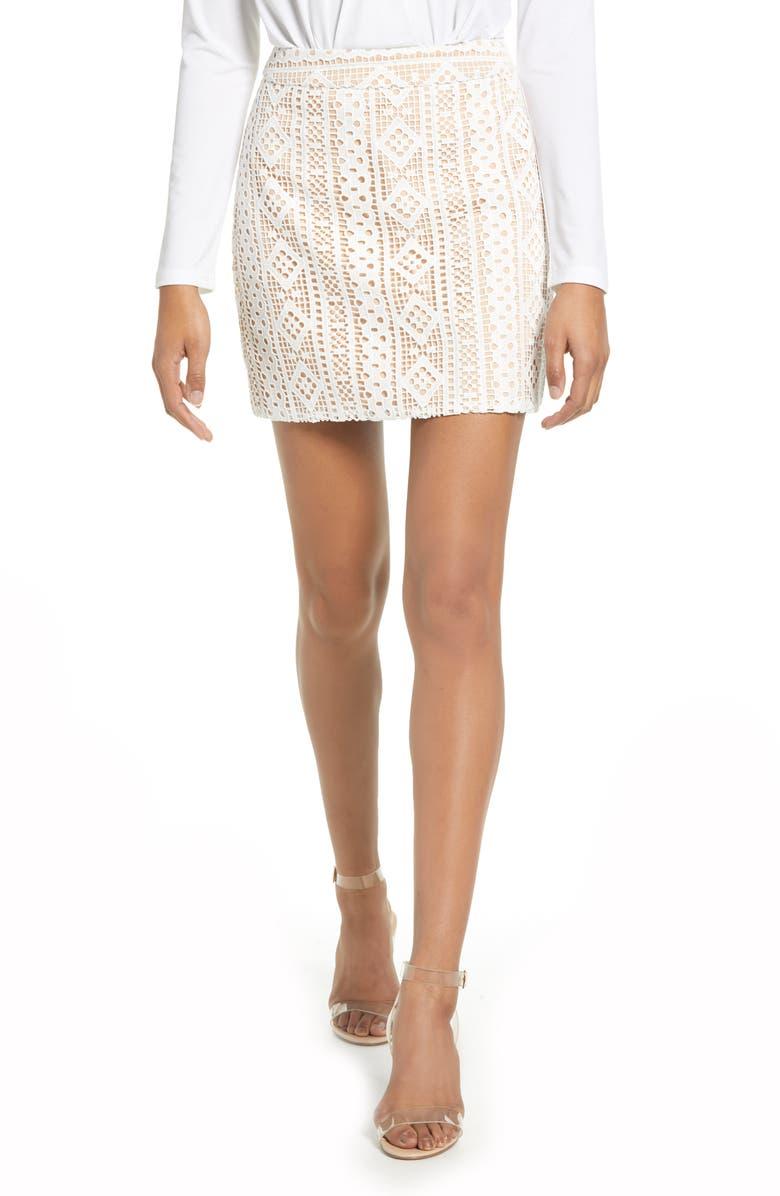 ENDLESS ROSE Eyelet Miniskirt, Main, color, WHITE