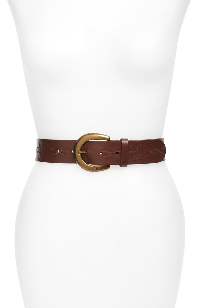 LAUREN RALPH LAUREN Tooled Leather Belt, Main, color, 200