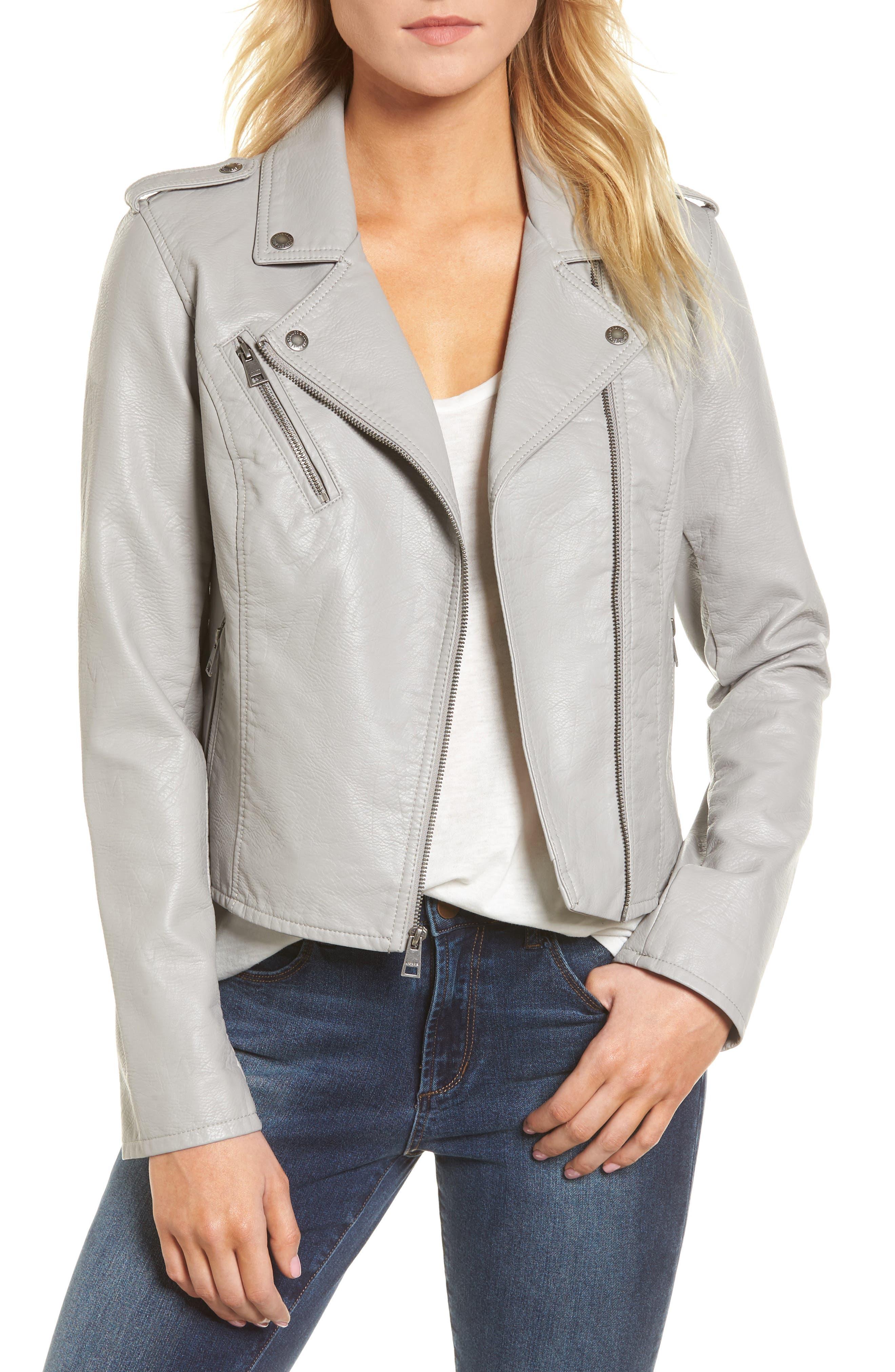 ,                             Faux Leather Moto Jacket,                             Main thumbnail 1, color,                             030