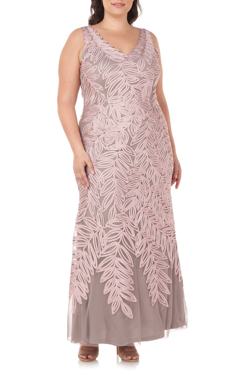 Embroidered Leaf A-Line Gown