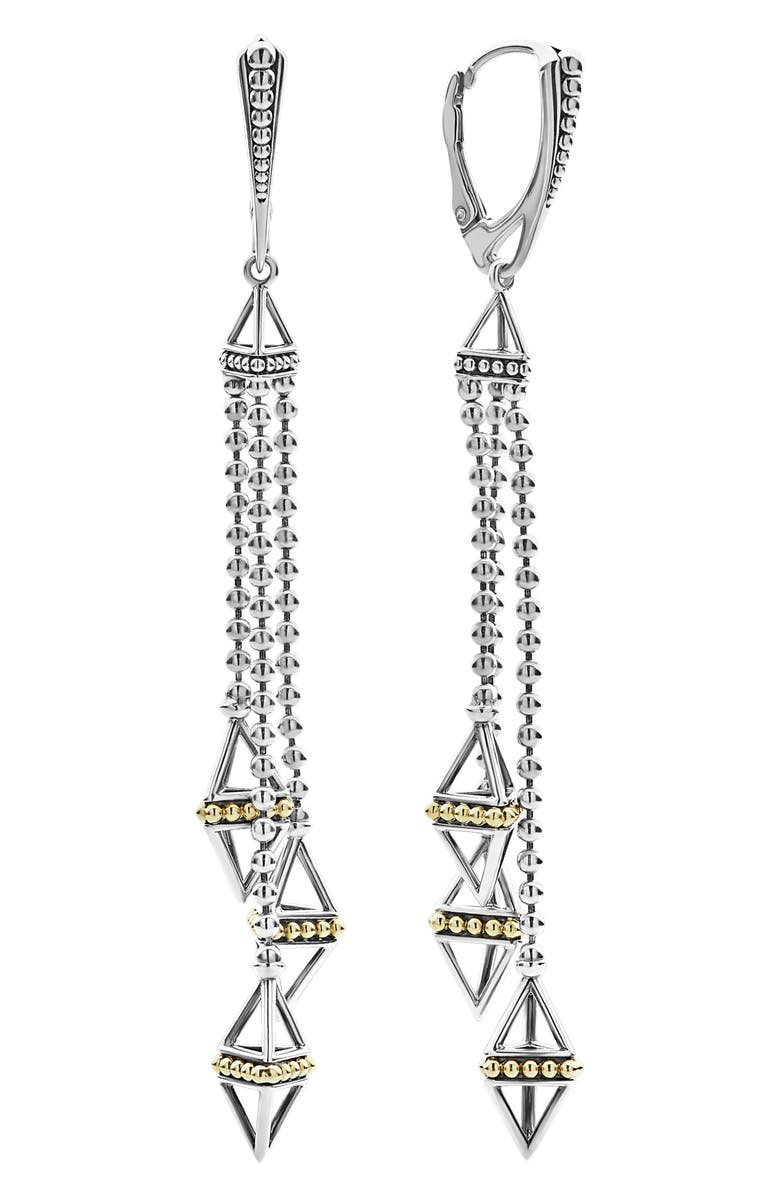 LAGOS Caviar Triangle Pyramid Tassel Earrings, Main, color, SILVER/ GOLD