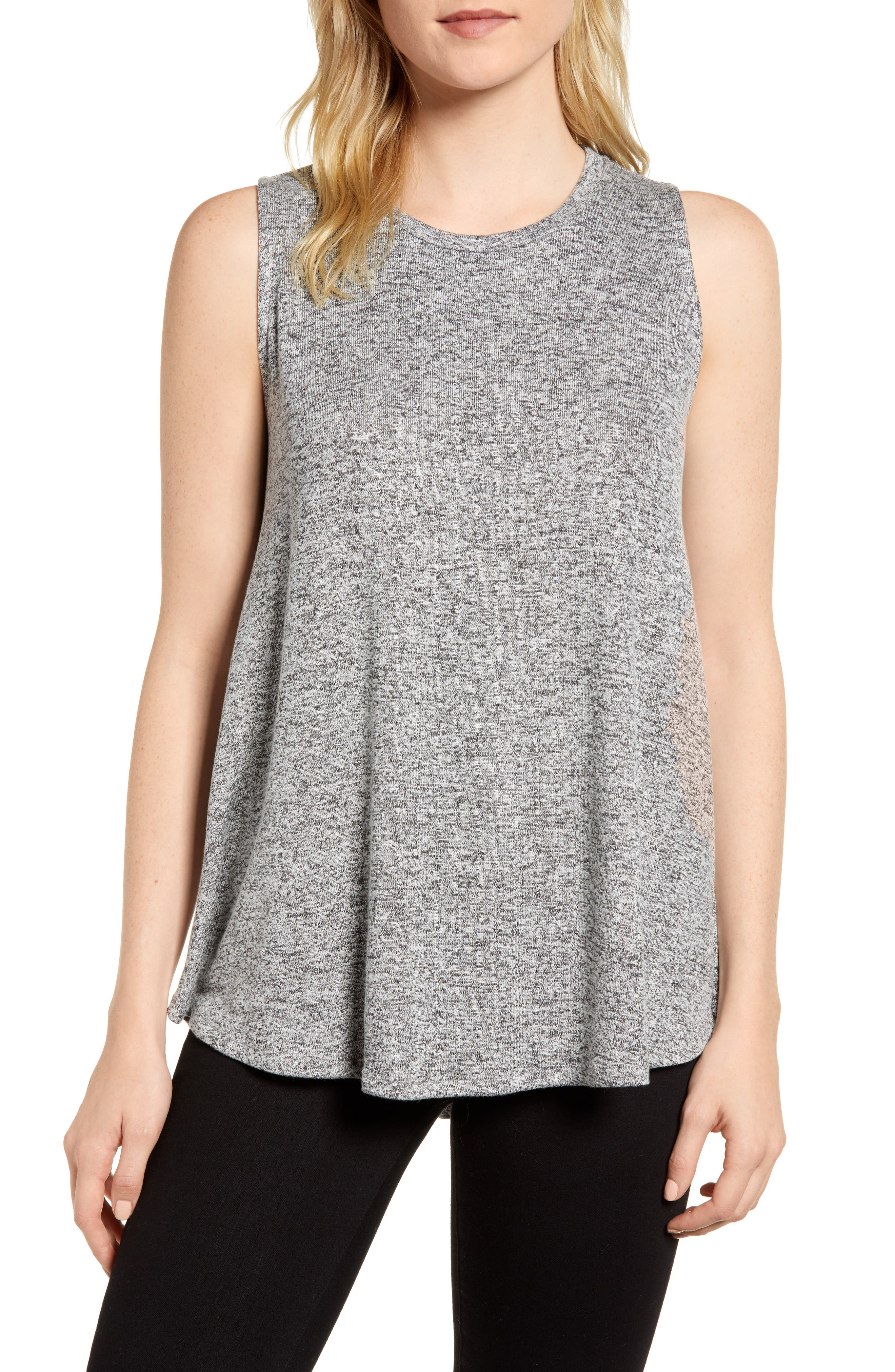 ,                             x Living in Yellow Millie Cozy Muscle Tank,                             Main thumbnail 1, color,                             HEATHER GREY