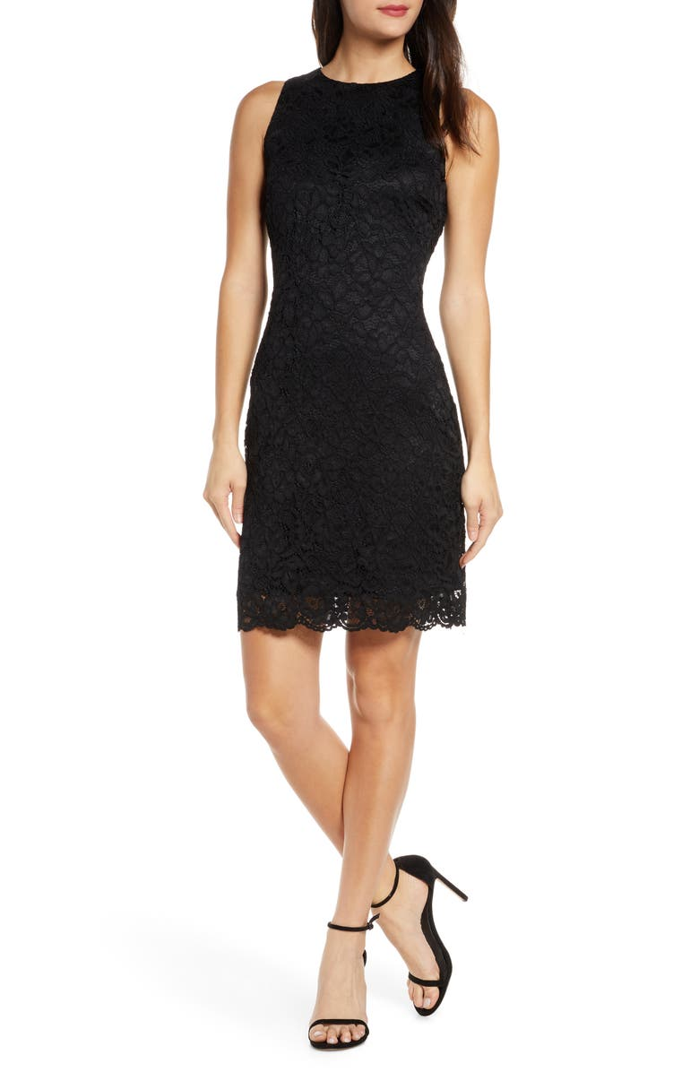 SAM EDELMAN Bow Back Lace Sheath Dress, Main, color, BLACK