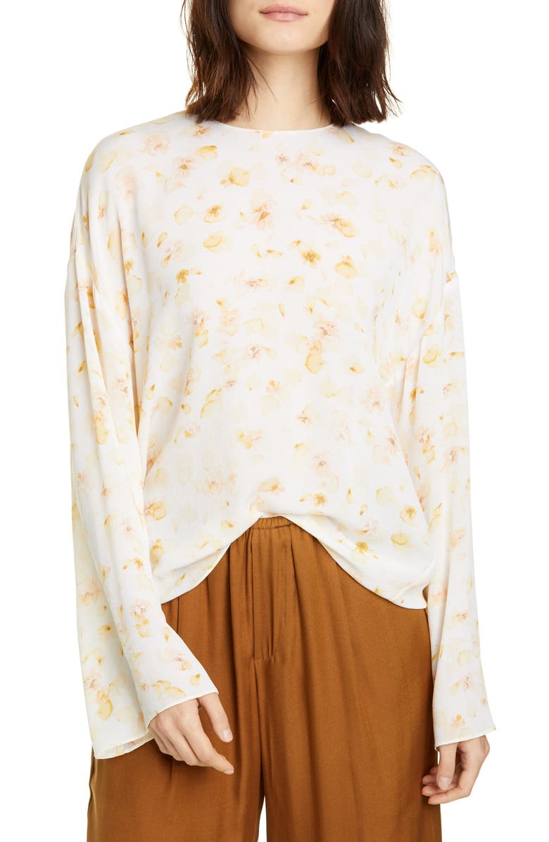 VINCE Pressed Petal Long Sleeve Blouse, Main, color, OFF WHITE