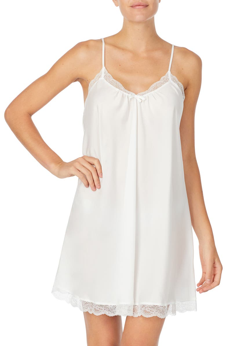 KATE SPADE NEW YORK charmeuse chemise, Main, color, OFF-WHITE