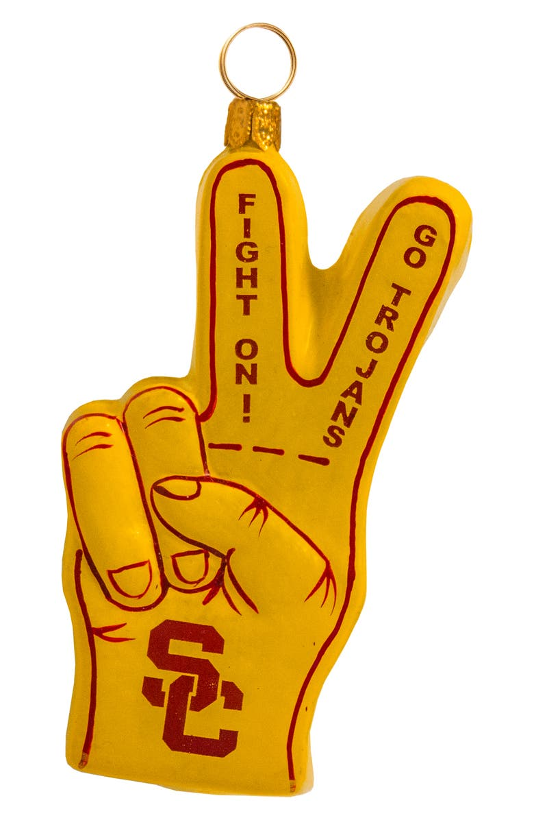 JOY TO THE WORLD COLLECTIBLES Collegiate USC Fight On Sign Ornament, Main, color, USC
