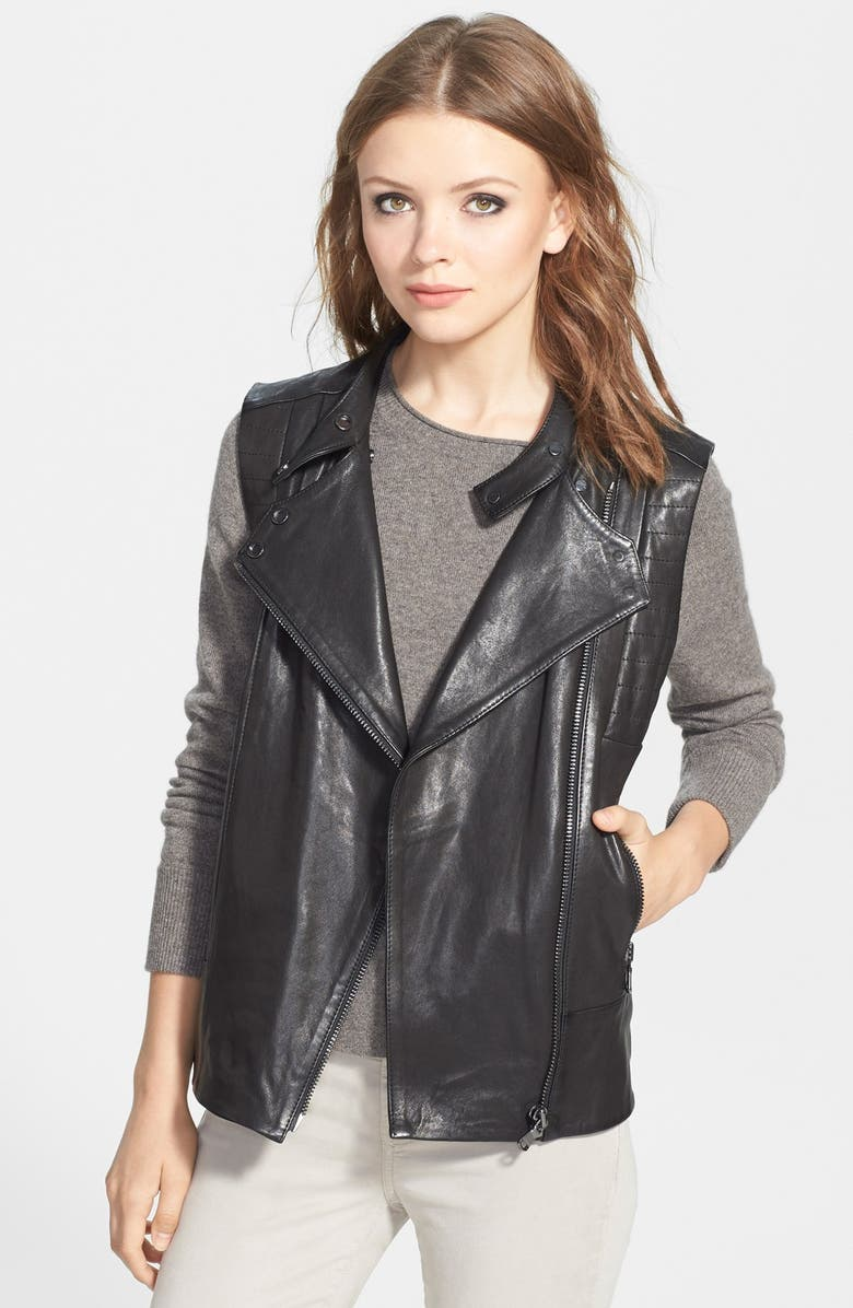 J BRAND READY-TO-WEAR 'Madisyn' Leather Vest, Main, color, 001
