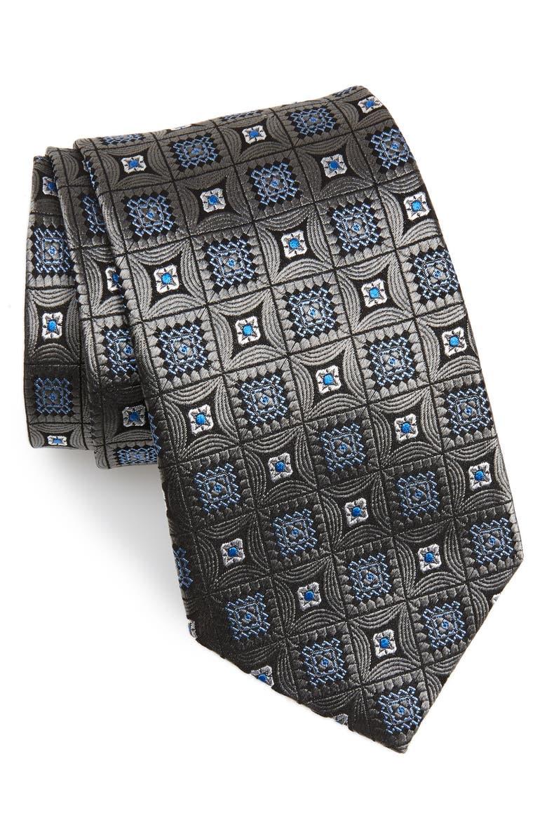 DAVID DONAHUE Medallion Silk X-Long Tie, Main, color, 020