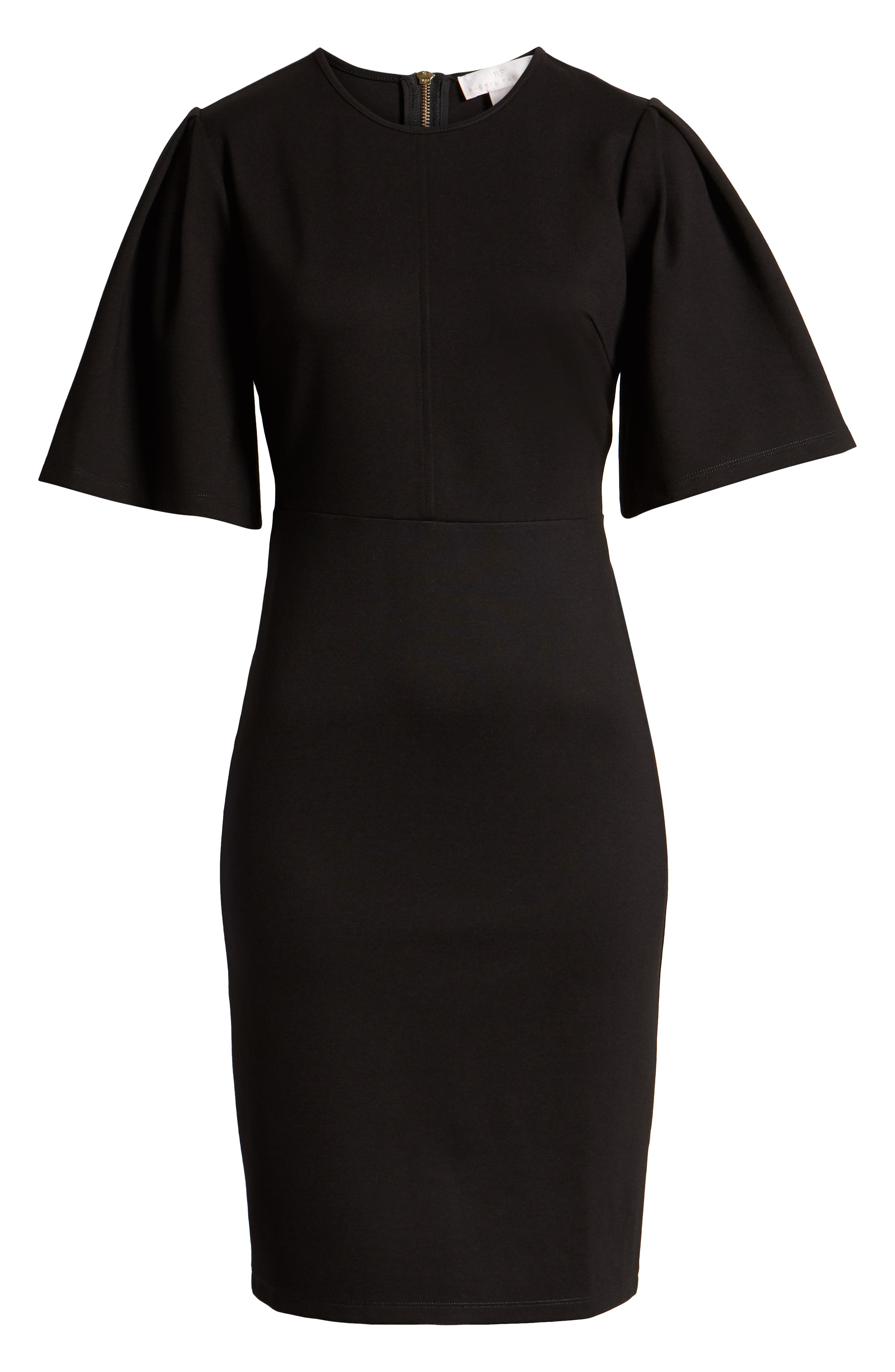 ,                             Flutter Sleeve Ponte Dress,                             Alternate thumbnail 7, color,                             BLACK