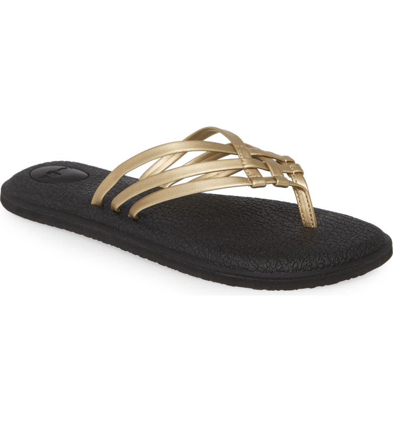 SANUK Yoga Salty Flip Flop, Main, color, CHAMPAGNE GOLD