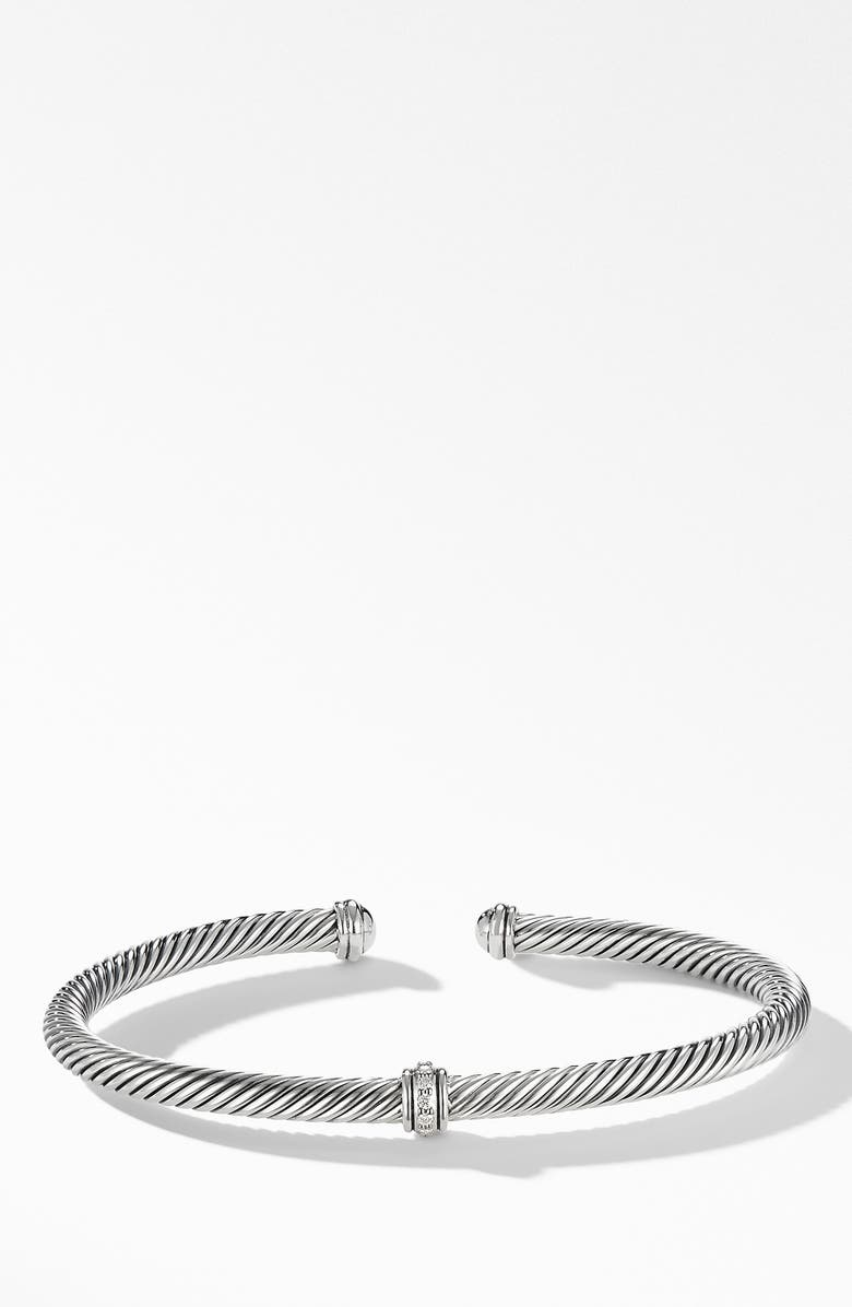 DAVID YURMAN Cable Classic Center Station Bracelet with Diamonds, Main, color, SILVER/ DIAMOND