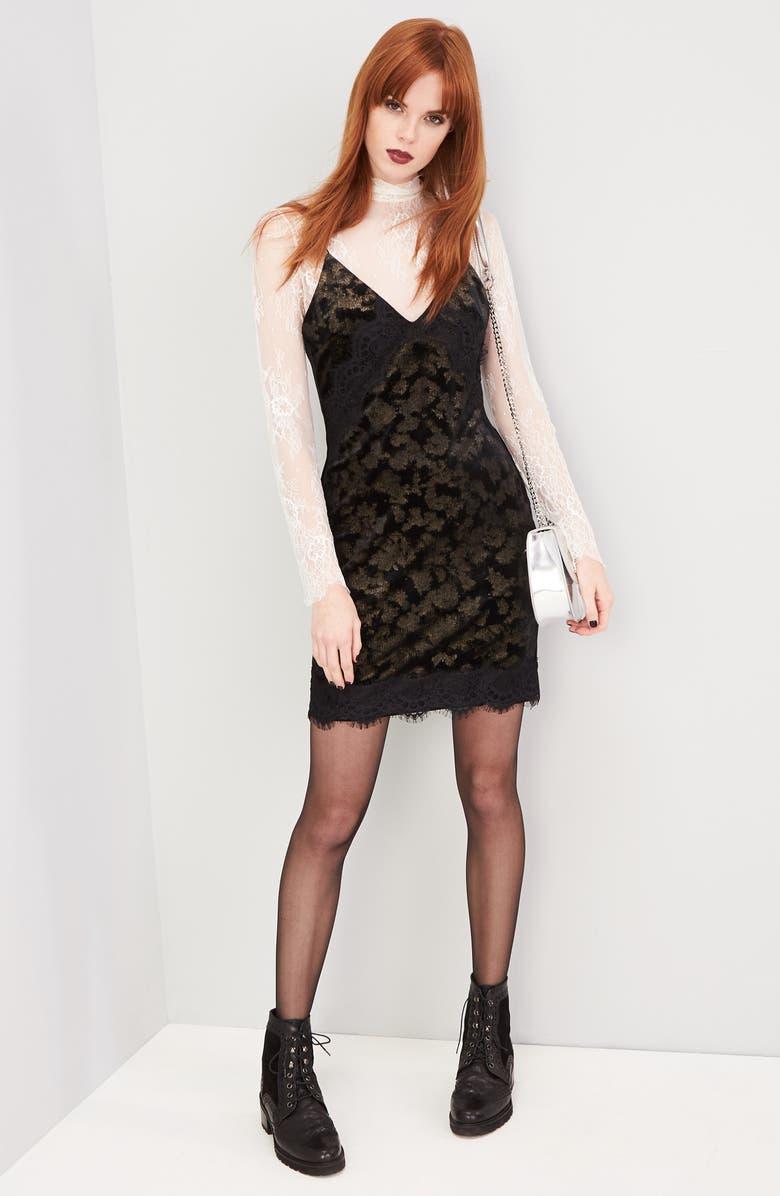 TOPSHOP Lace Trim Velvet Jacquard Slipdress, Main, color, 001