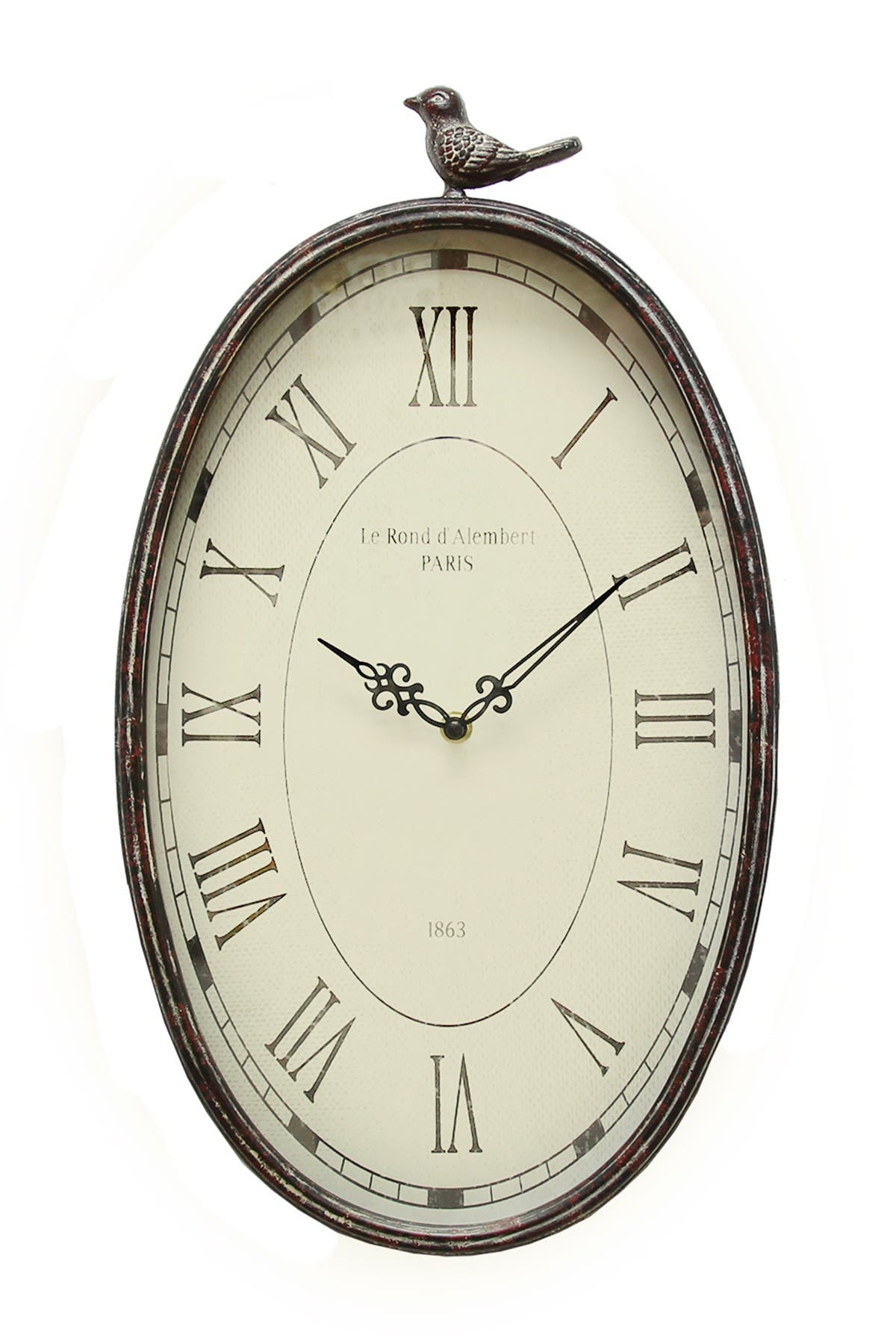 Image of Stratton Home Gunmetal Antique Oval Bird Clock