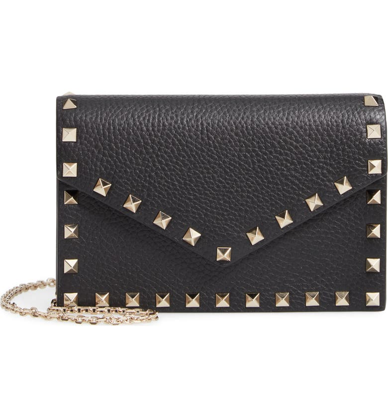 VALENTINO GARAVANI Rockstud Calfskin Leather Envelope Pouch, Main, color, BLACK