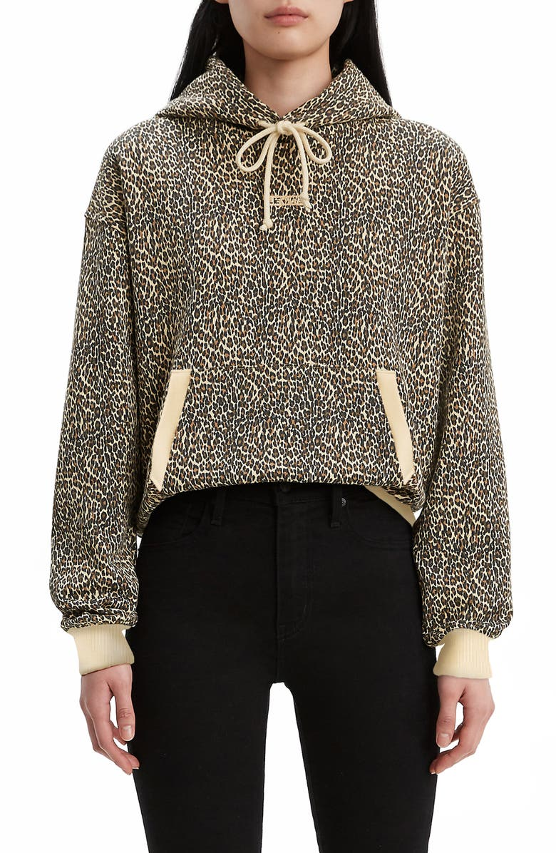 LEVI'S<SUP>®</SUP> Unbasic Leopard Print Hoodie, Main, color, MINI CHEETAH GRAVEL