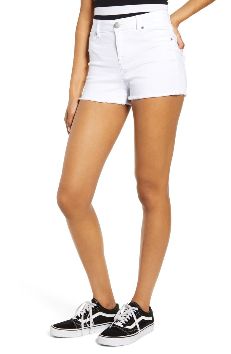 1822 DENIM Fray Hem Denim Shorts, Main, color, WHITE