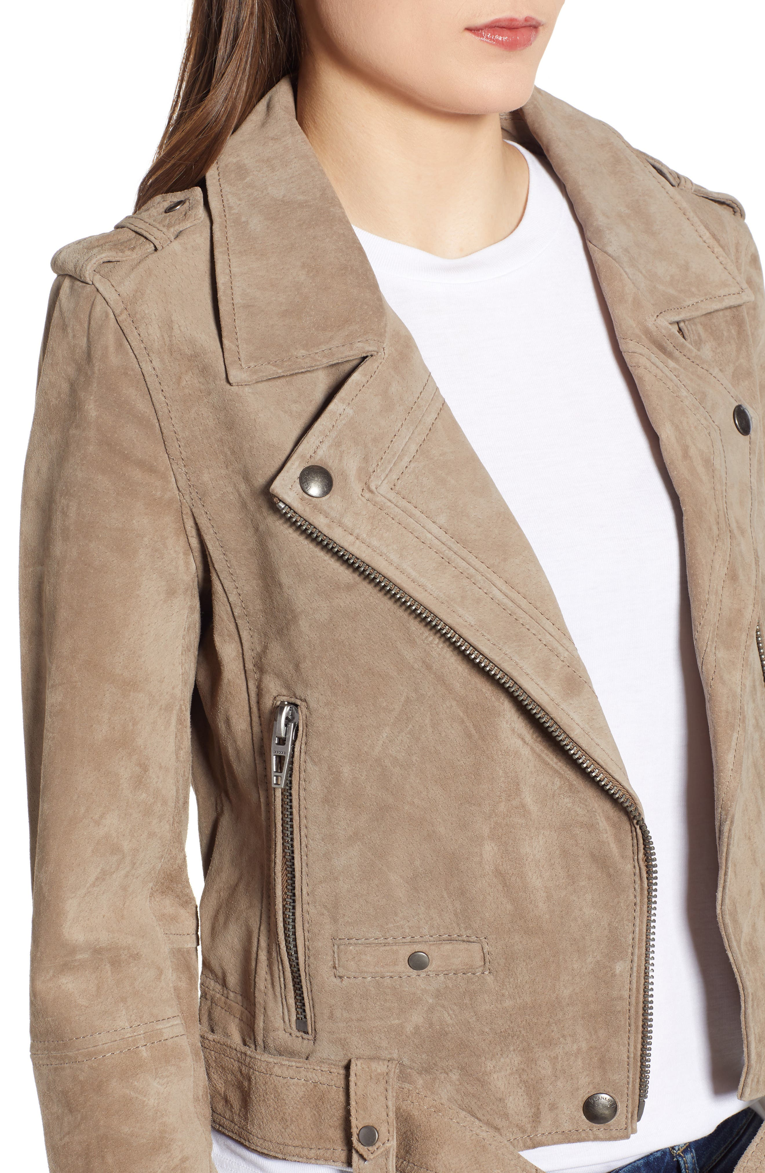 ,                             Morning Suede Moto Jacket,                             Alternate thumbnail 5, color,                             FRENCH TAUPE