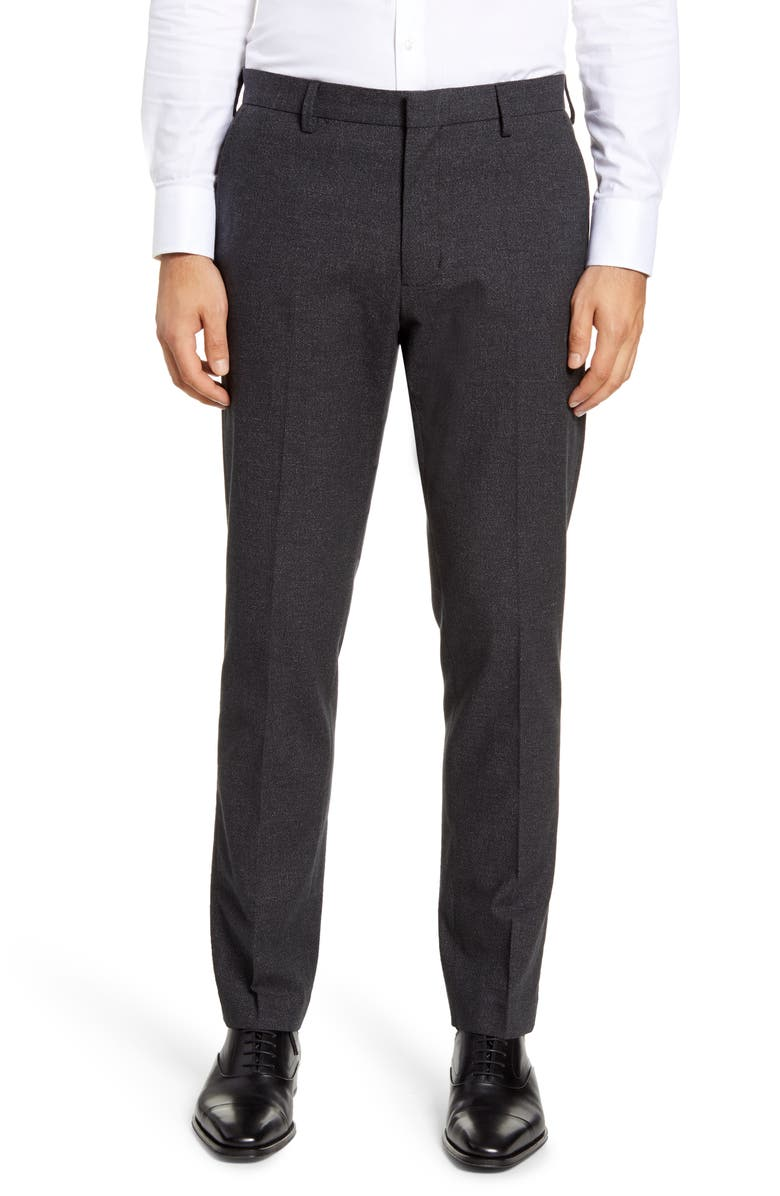 NORDSTROM MEN'S SHOP Pebbled Athletic Fit Chino Dress Pants, Main, color, BLACK CAVIAR