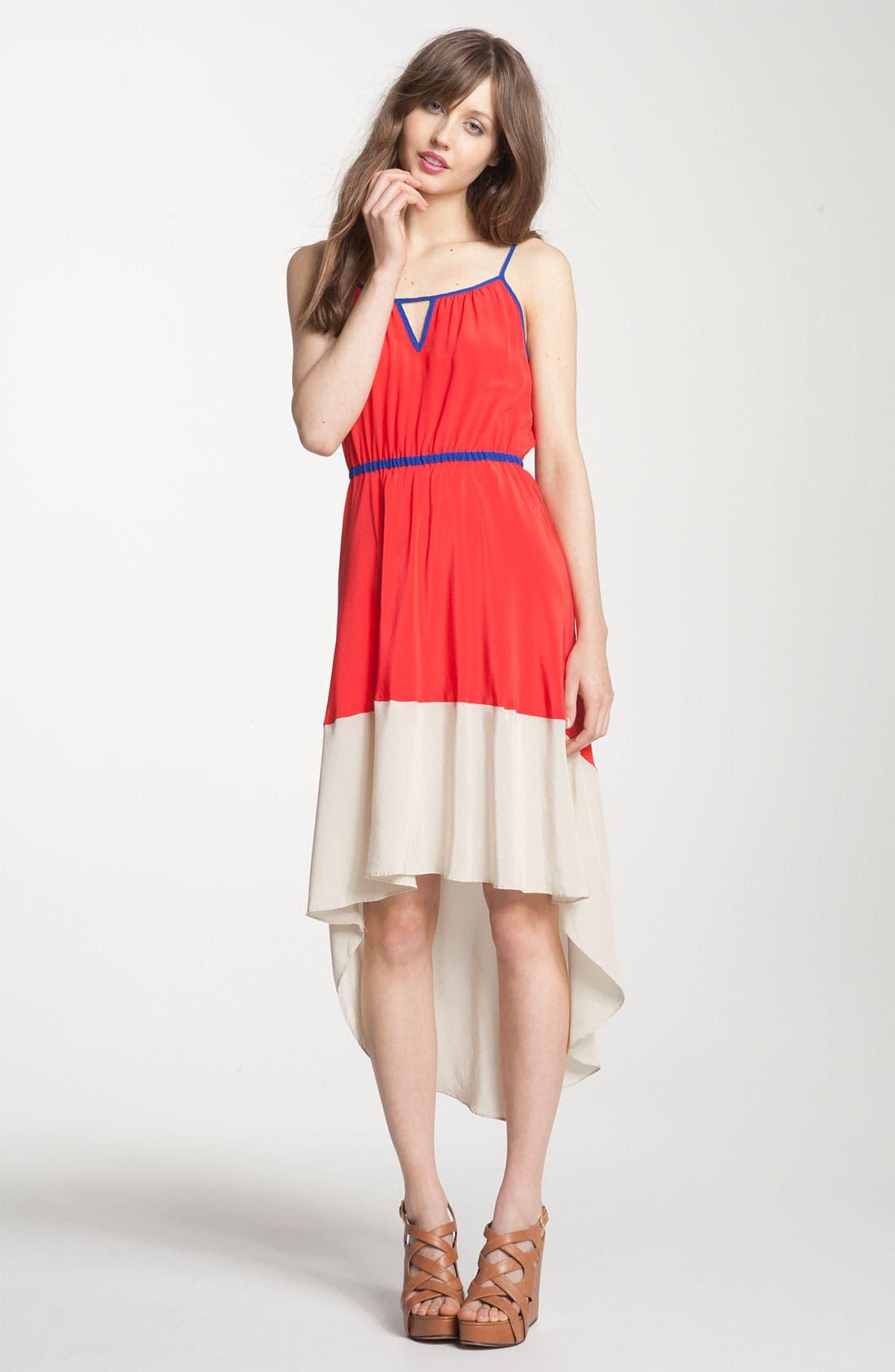 ,                             Colorblock Asymmetrical Hem Dress,                             Main thumbnail 5, color,                             600