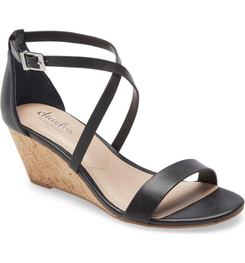 CHARLES BY CHARLES DAVID Gustie Wedge Sandal, Main, color, BLACK