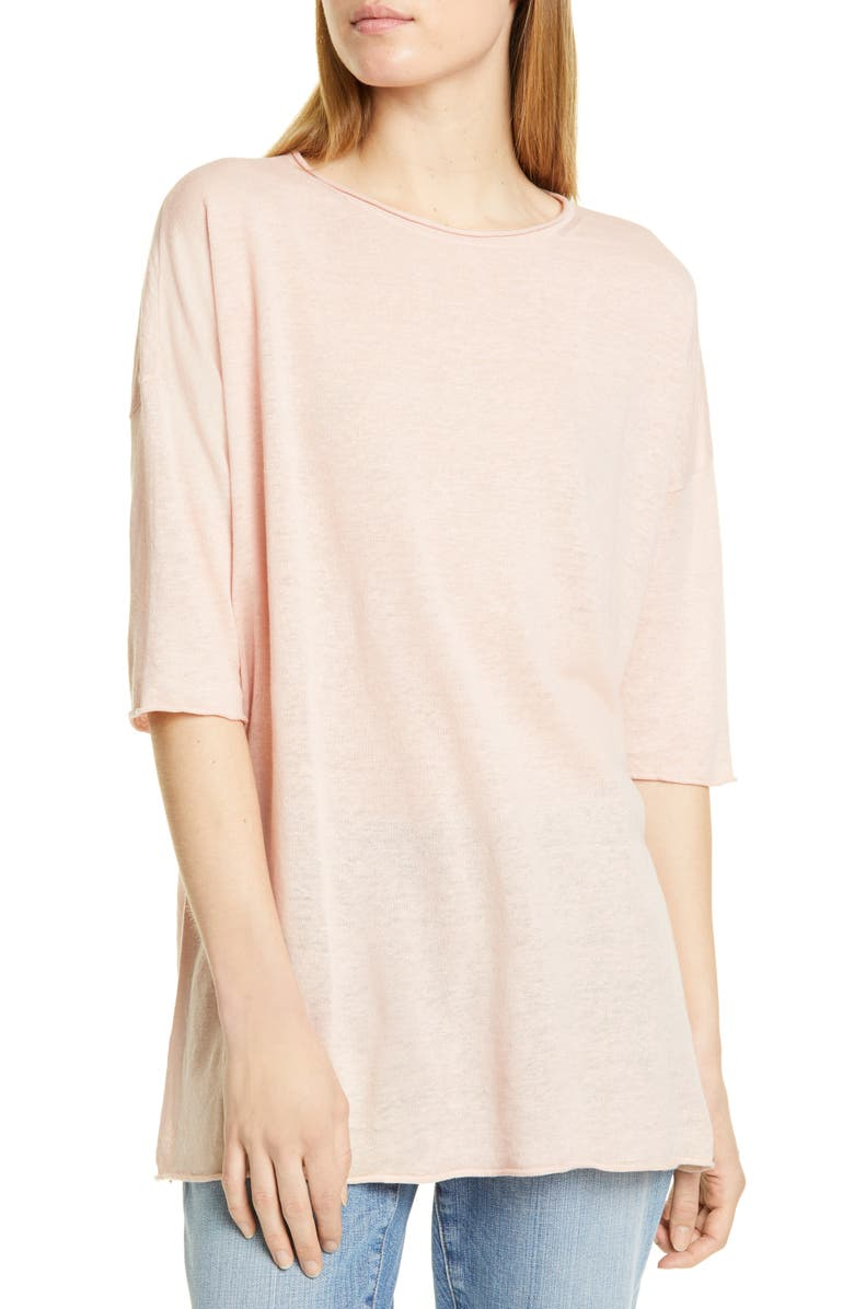 EILEEN FISHER Linen & Cotton Tunic Sweater, Main, color, POWDER