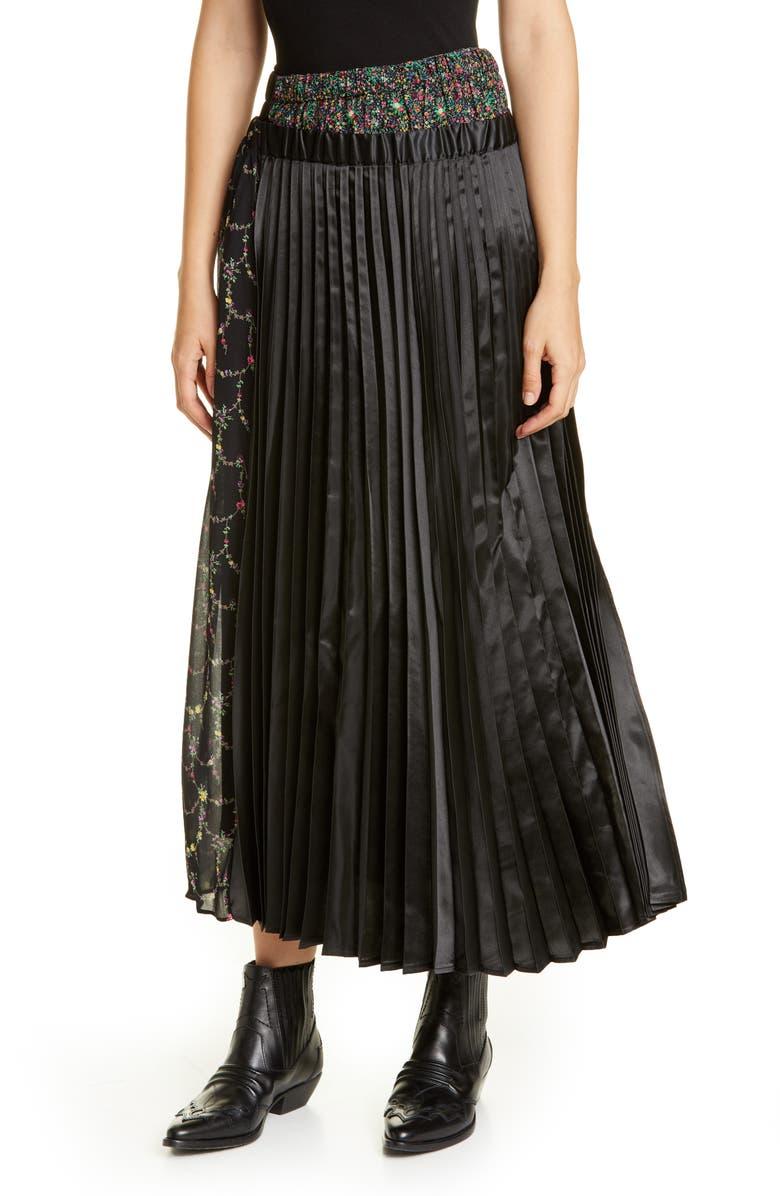 JUNYA WATANABE Mixed Media Pleated Midi Skirt, Main, color, 001
