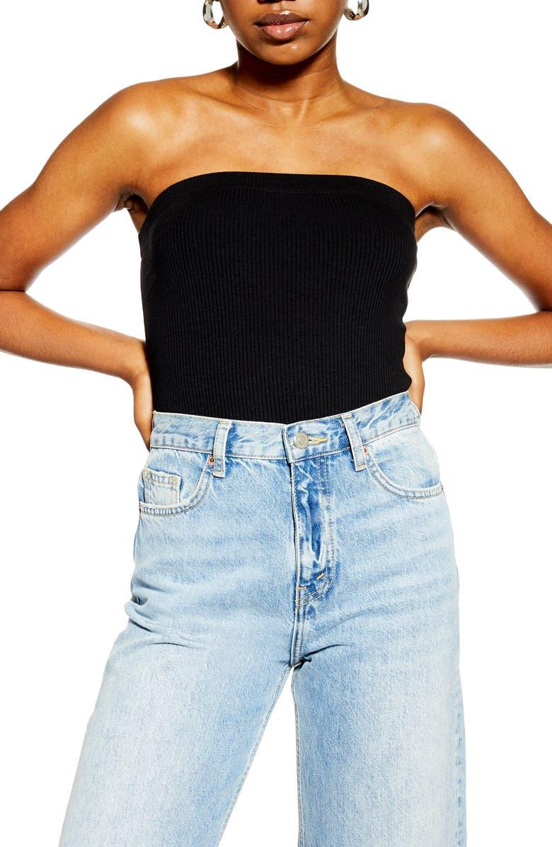 TOPSHOP Ribbed Strapless Bodysuit, Main, color, BLACK