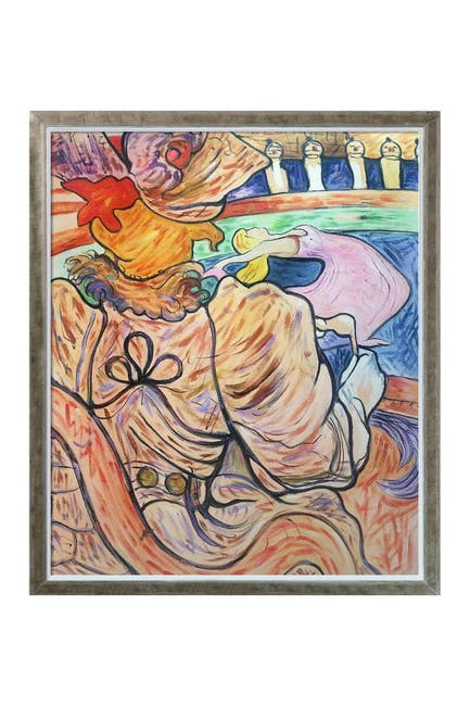 Image of Overstock Art At the Nouveau Cirque the Dancer and Five Stuffed Shirts by Henri de Toulouse-Lautrec Framed Hand Painted Oil on Canvas