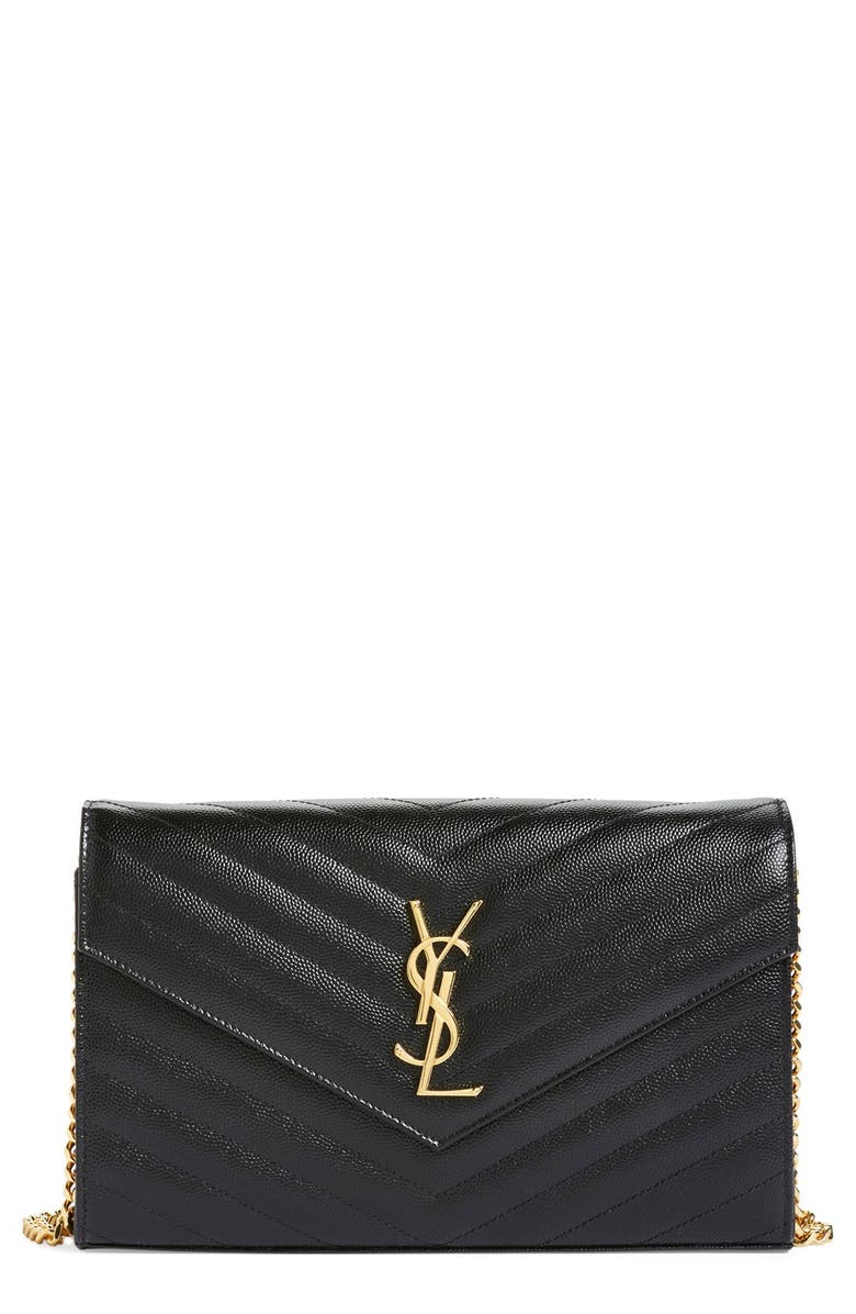 SAINT LAURENT Large Monogram Quilted Leather Wallet on a Chain, Main, color, NOIR
