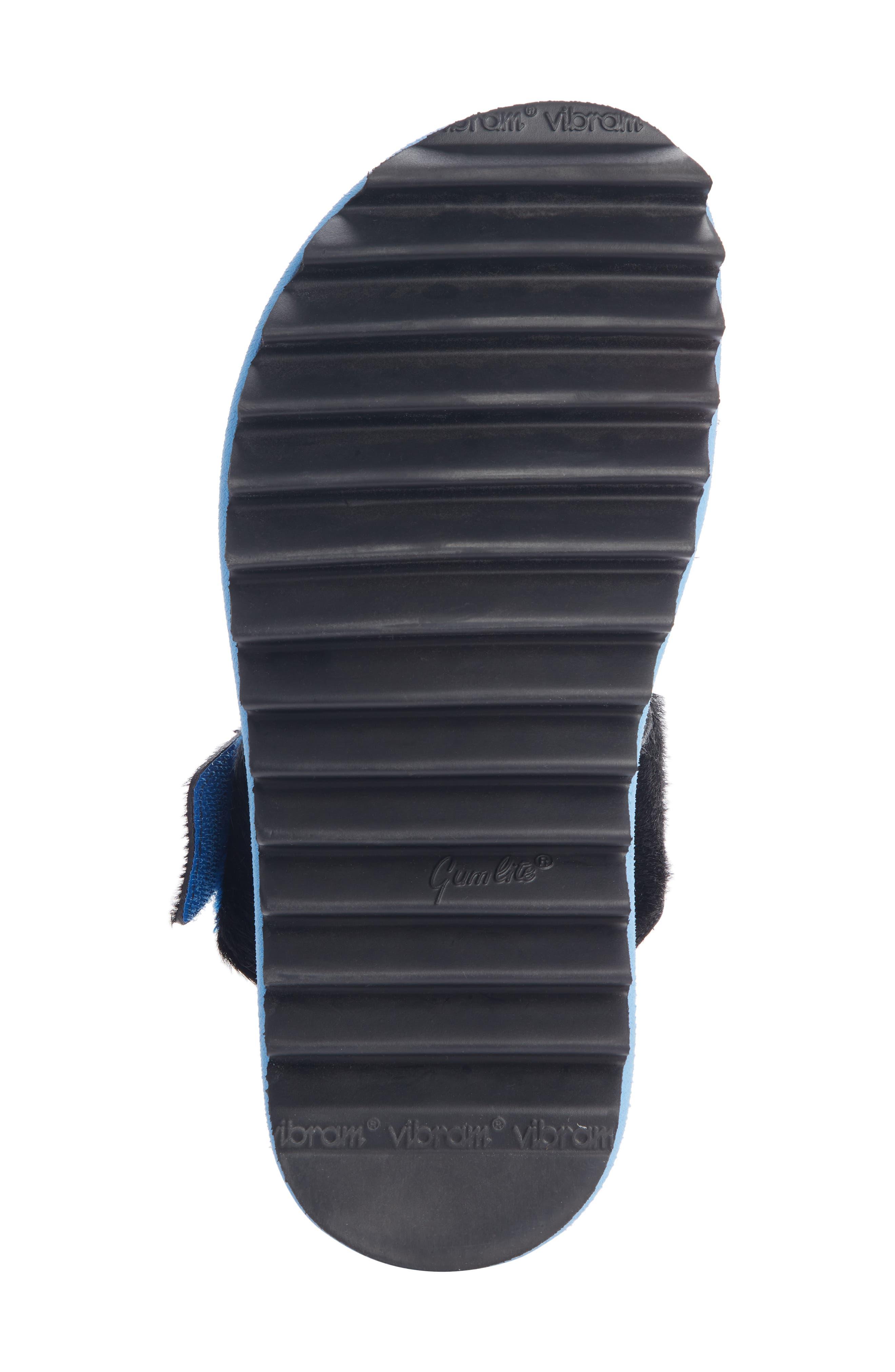 ,                             Genuine Calf Hair Double Band Sandal,                             Alternate thumbnail 5, color,                             BLACK
