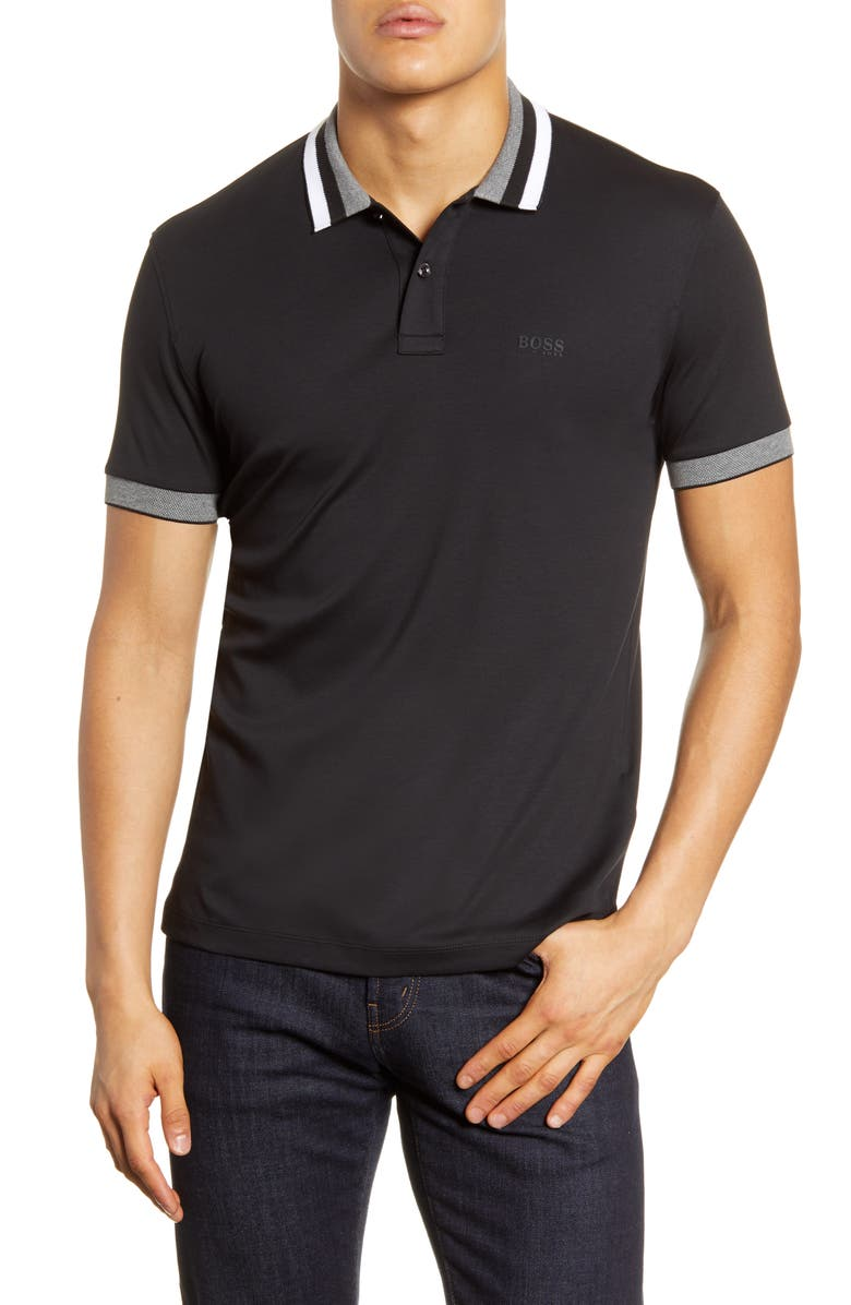 BOSS Phillipson Polo Shirt, Main, color, BLACK