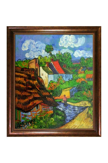 Image of Overstock Art Houses in Auvers 2 - Framed Oil Reproduction of an Original Painting by Vincent Van Gogh