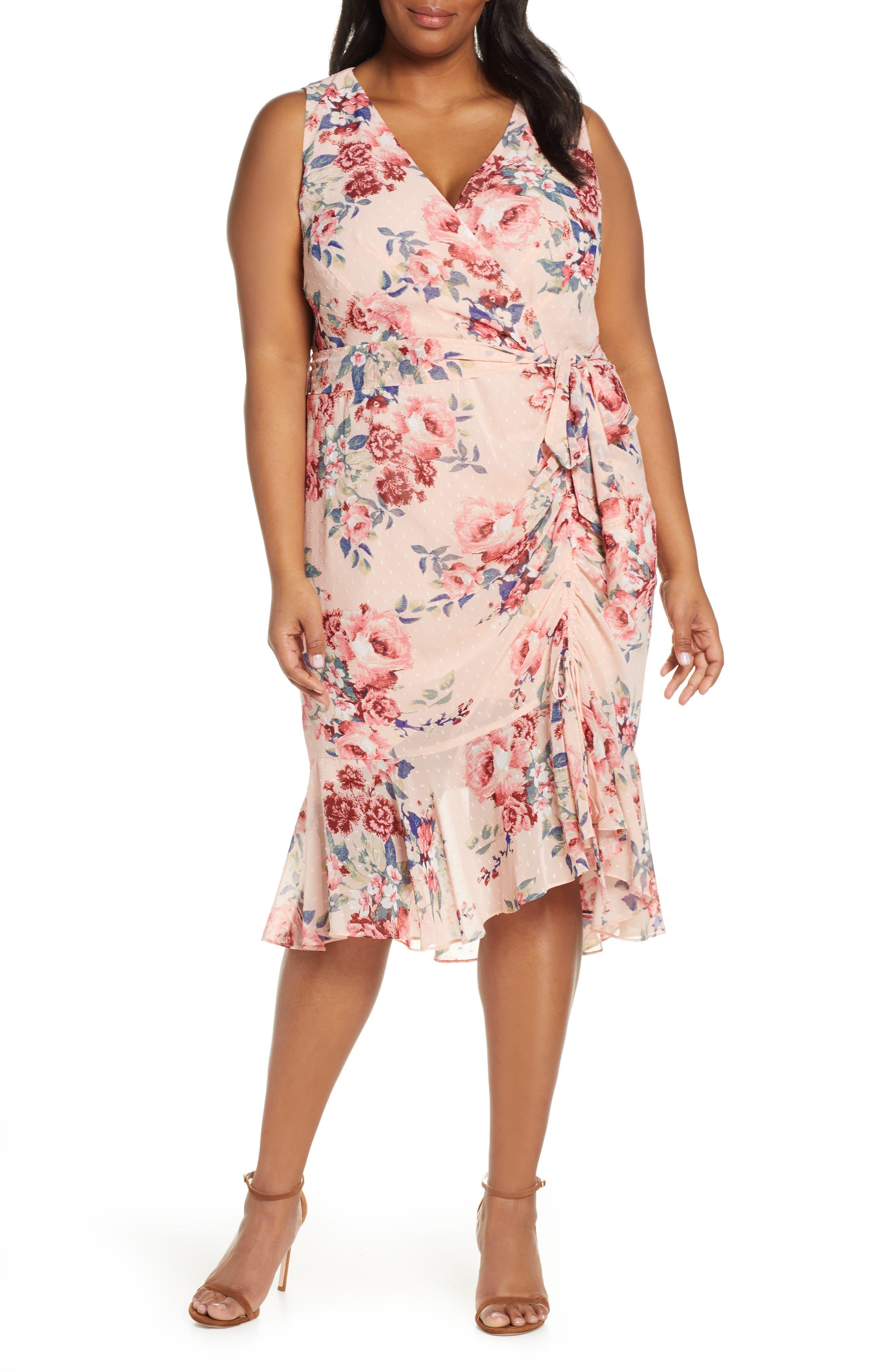 Plus Size Eliza J Floral Sleeveless Chiffon Dress, Pink