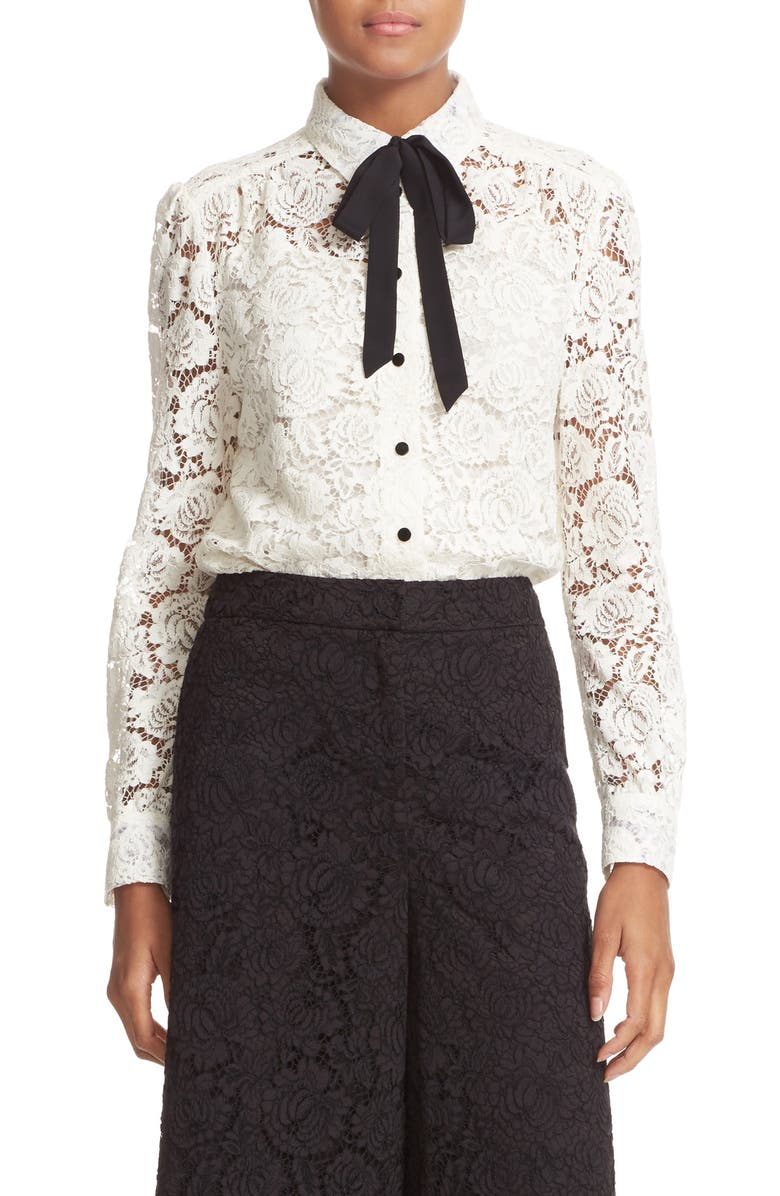 KATE SPADE NEW YORK bow tie lace shirt, Main, color, 906