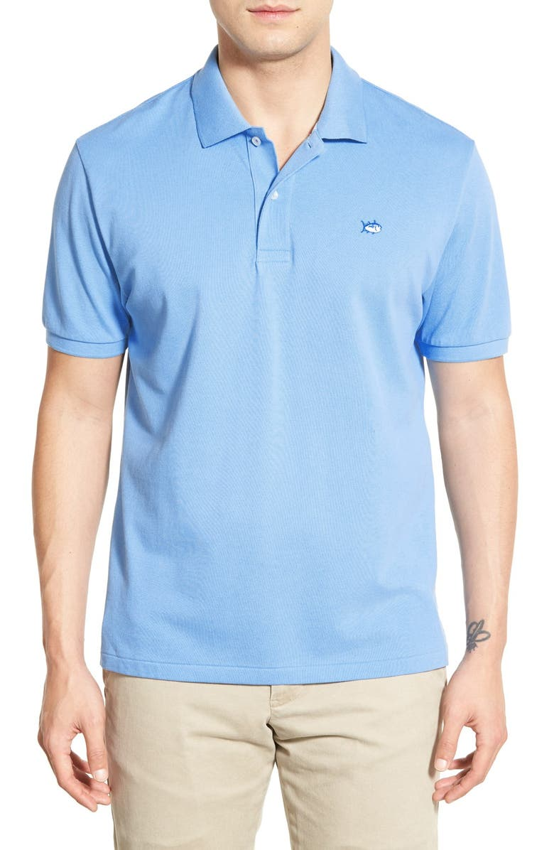SOUTHERN TIDE 'Skipjack Micro Piqué' Stretch Cotton Polo, Main, color, OCEAN CHANNEL