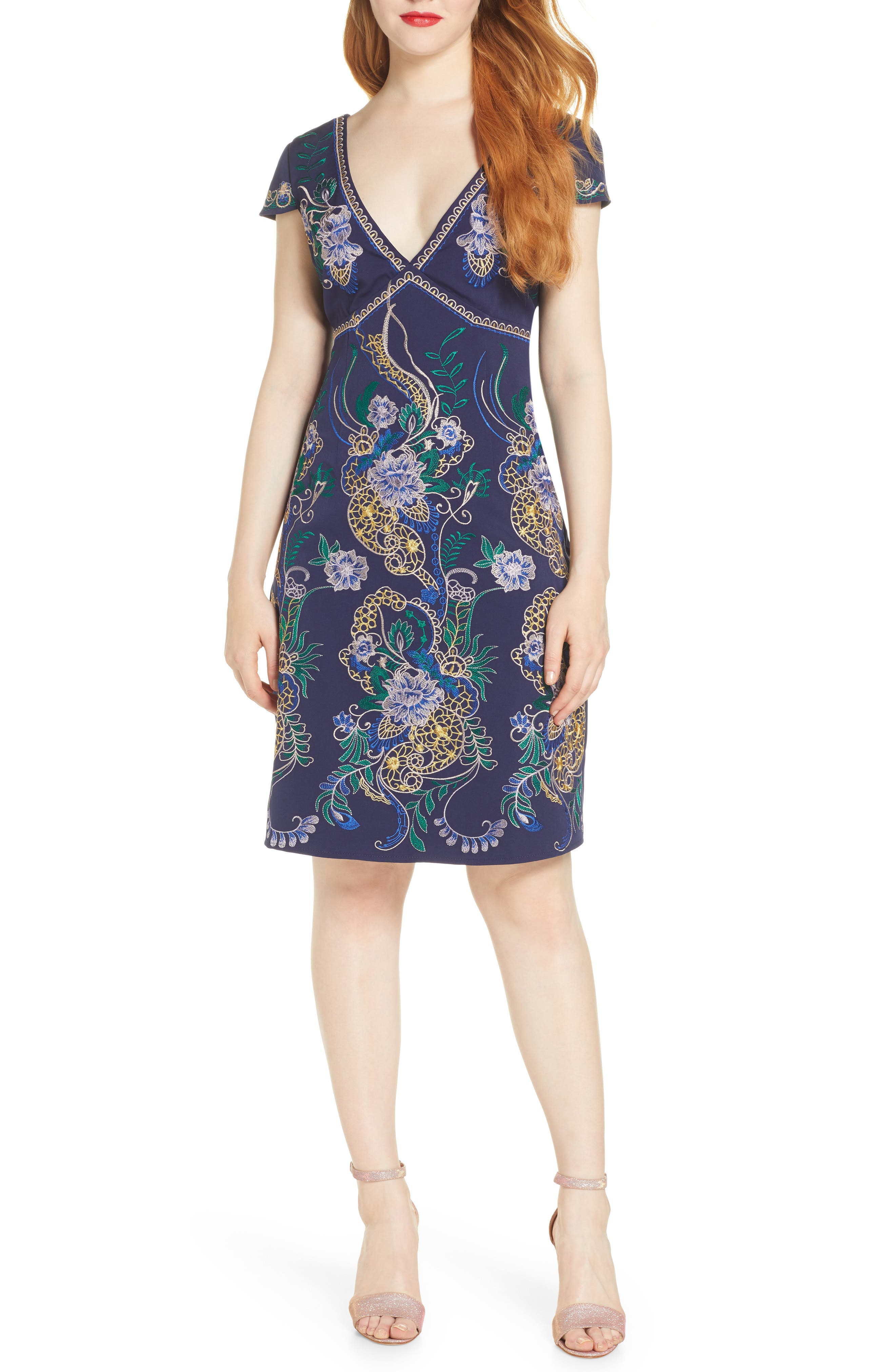Foxiedox Embroidered Dress, Blue