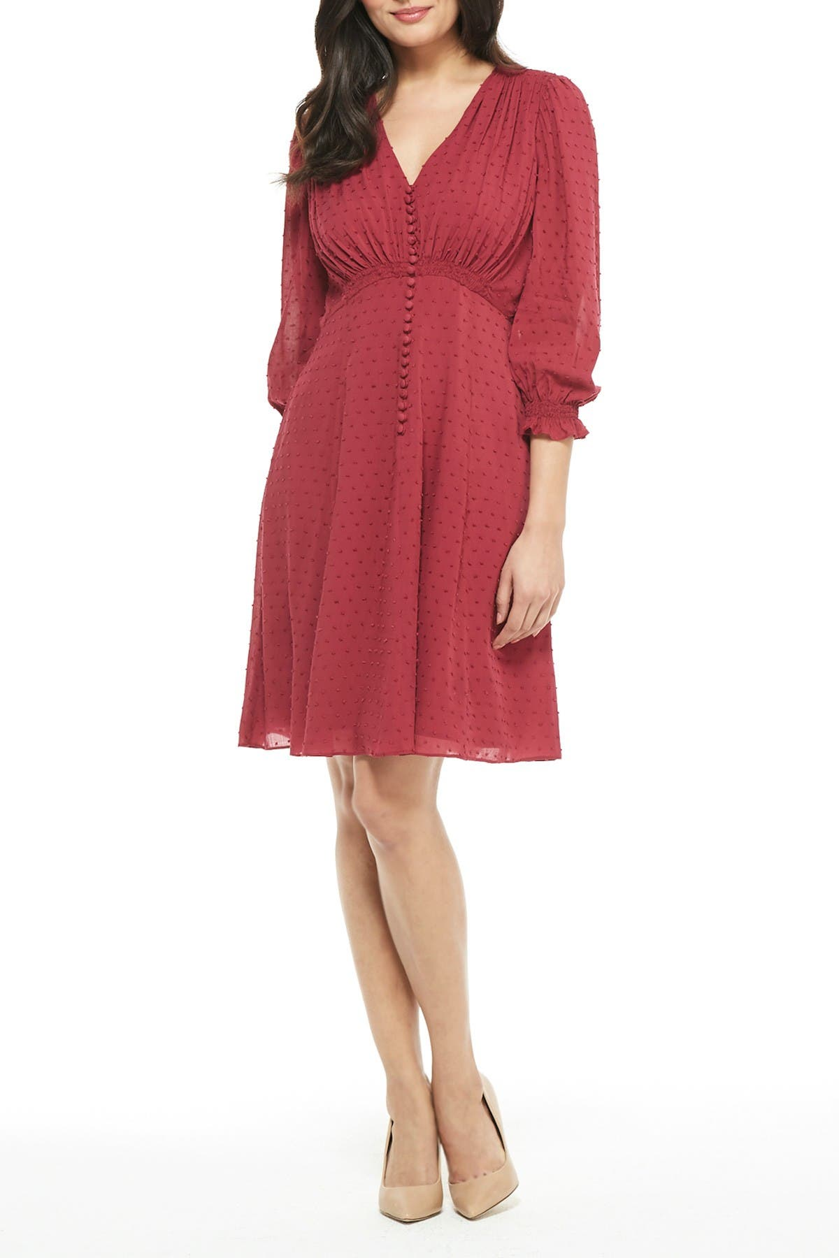 Image of Gal Meets Glam Andrea Button Front A-Line Dress