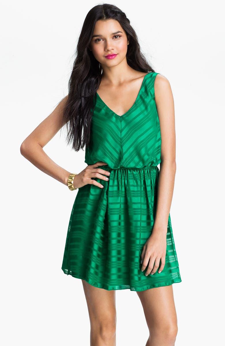 TRIXXI Satin Stripe V-Neck Dress, Main, color, 330