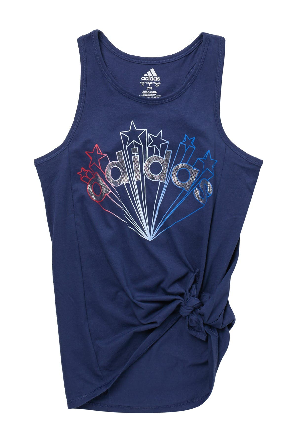 Image of ADIDAS ORIGINALS Sleeveless Logo Star Print Side Tie Tank