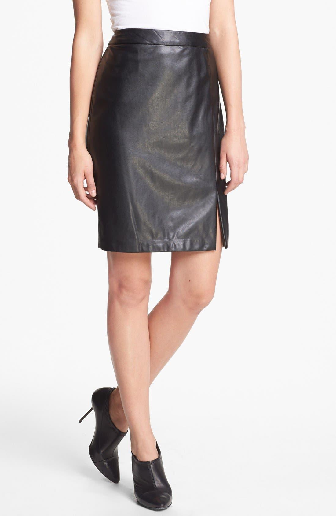 ,                             Faux Leather Skirt,                             Main thumbnail 1, color,                             001