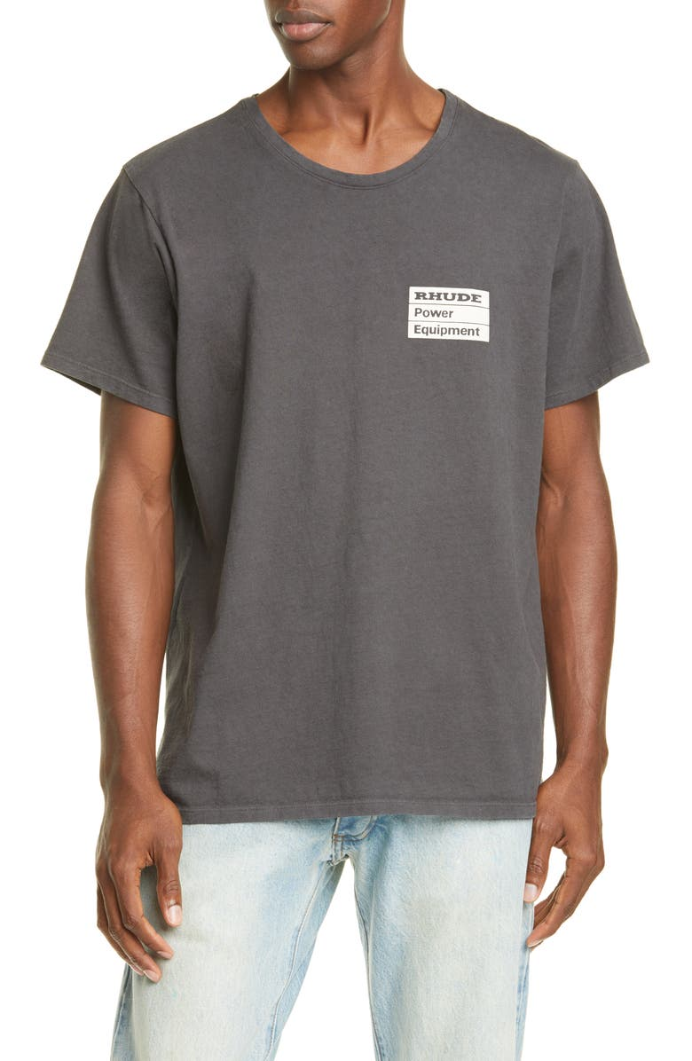 RHUDE Power Equipment Graphic T-Shirt, Main, color, BLACK