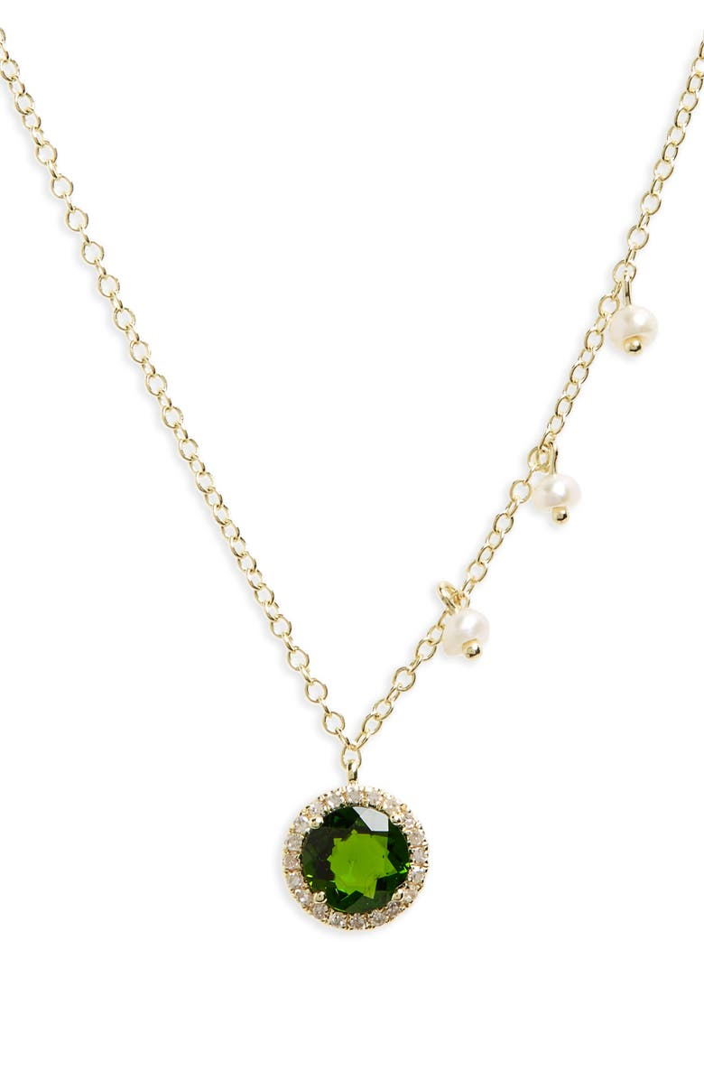 MEIRA T Small Pendant Necklace, Main, color, YELLOW GOLD/ GREEN CHROME