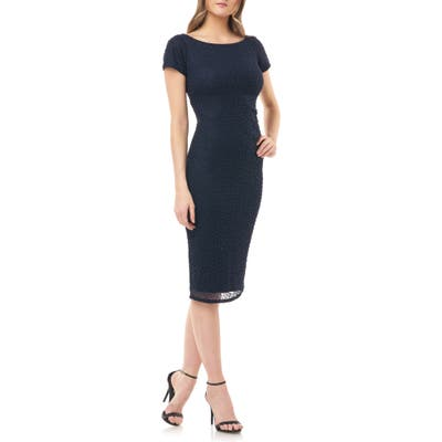 Js Collections Beaded Cocktail Dress, Blue