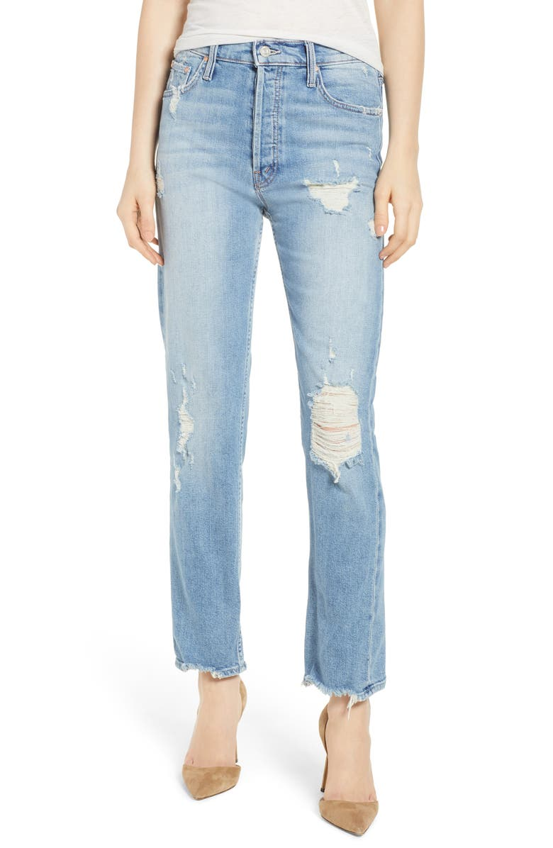 MOTHER The Tomcat High Waist Straight Leg Ankle Jeans, Main, color, 400