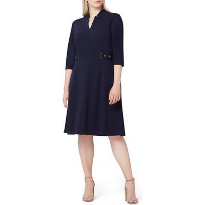 Plus Size Tahari Crepe Fit & Flare Dress, Blue