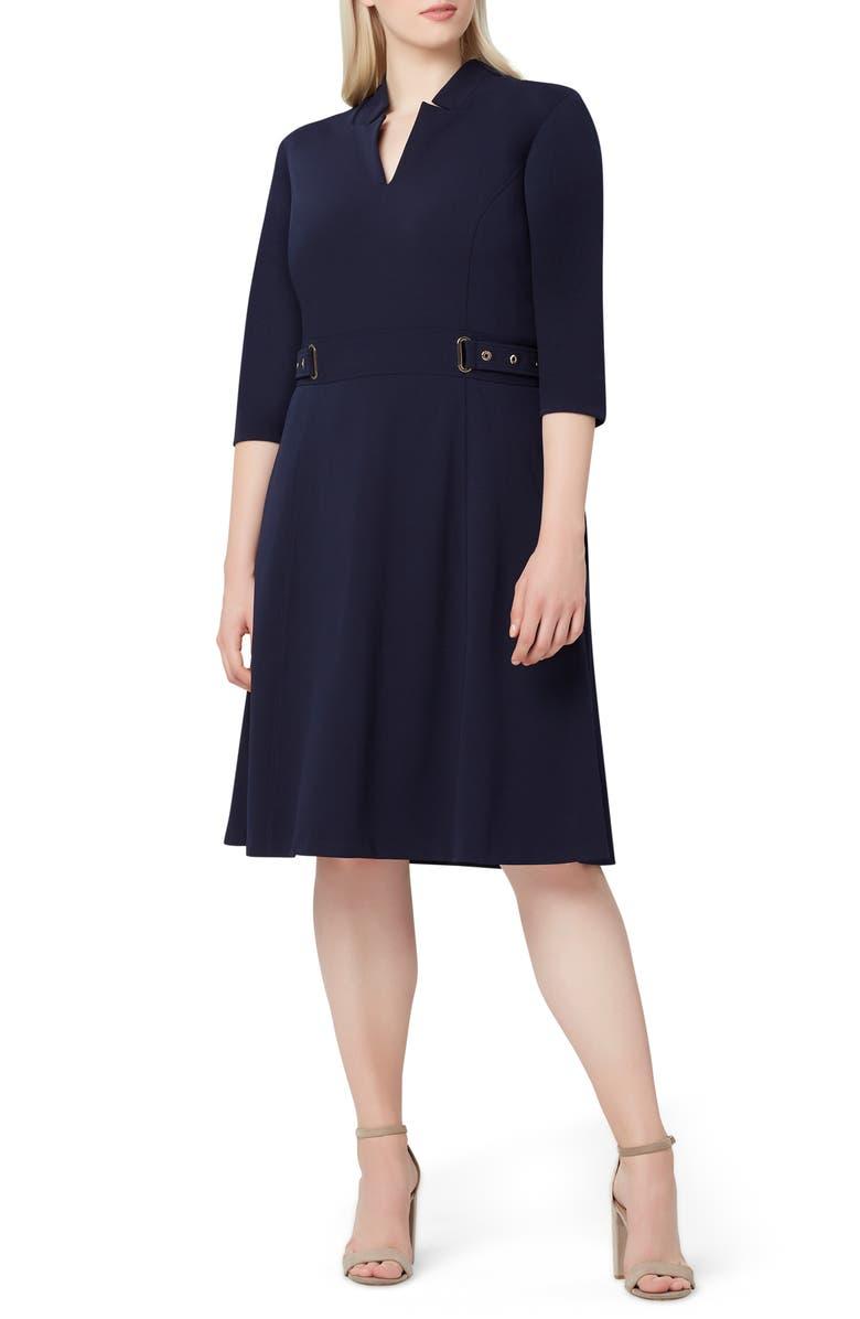 TAHARI Crepe Fit & Flare Dress, Main, color, 412