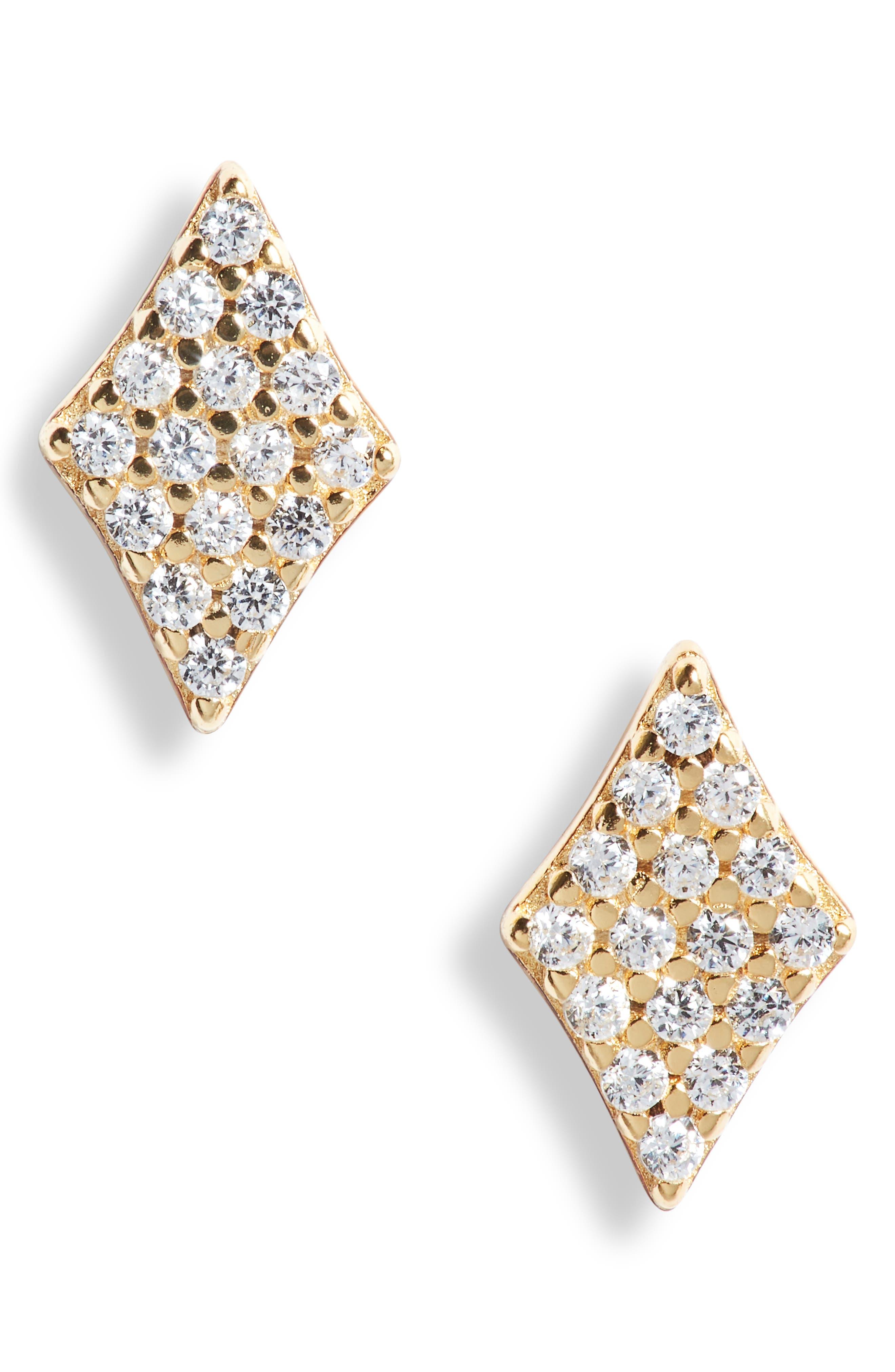 Cubic Zirconia Diamond Shape Stud Earrings