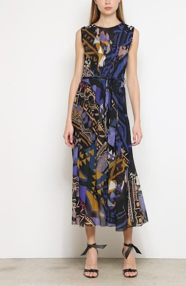 Print Belted Gathered Midi Dress, video thumbnail